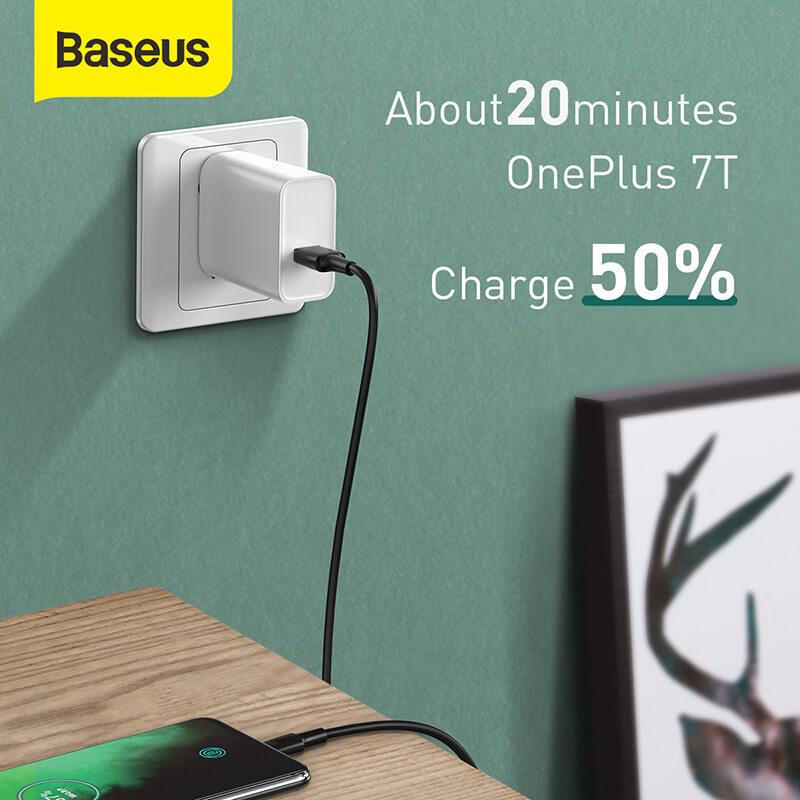 USB-C gyorstöltő kábel 2m VOOC QC 3.0 5A Baseus - Fehér