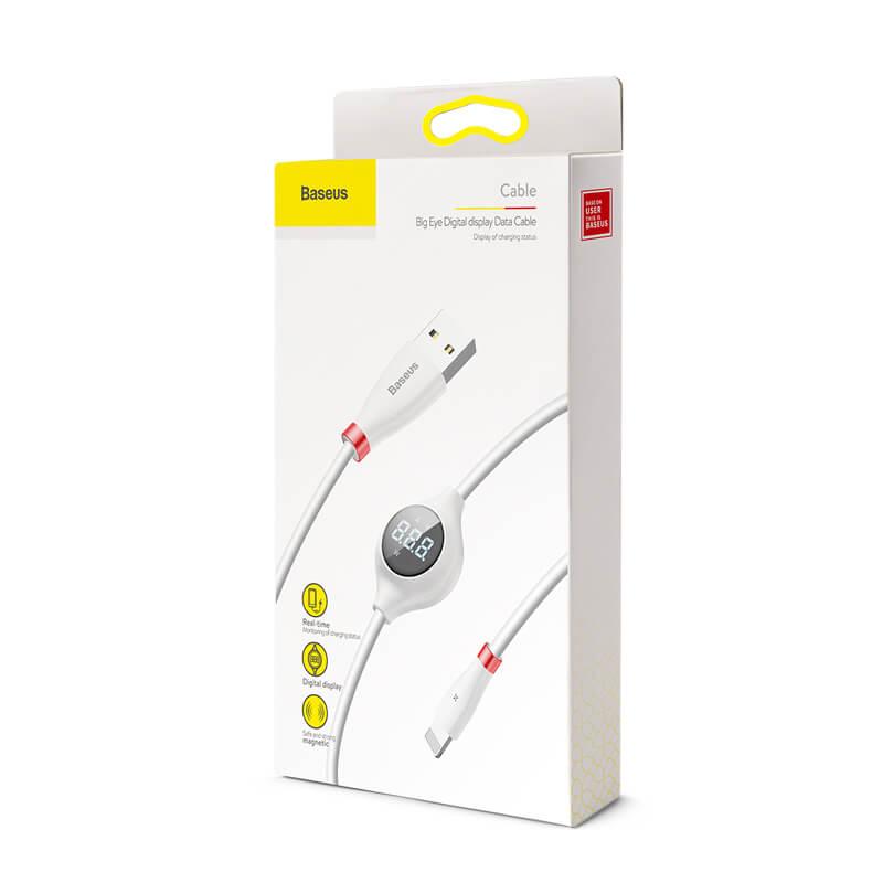 Big Eye Lightning töltőkábel, digitális töltéskijelzővel és öntapadó mágneses rögzítéssel,2A,1m Baseus - Fehér