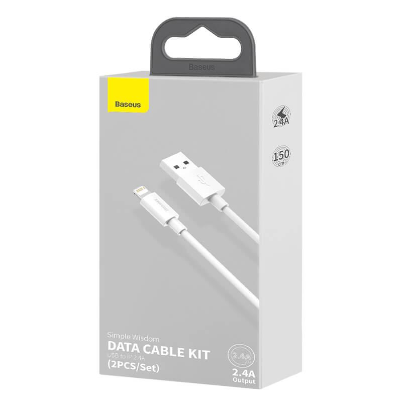Baseus iPhone adat/töltőkábel 2,4A 1,5m Simple Wisdom (2db/cs.) - Fehér