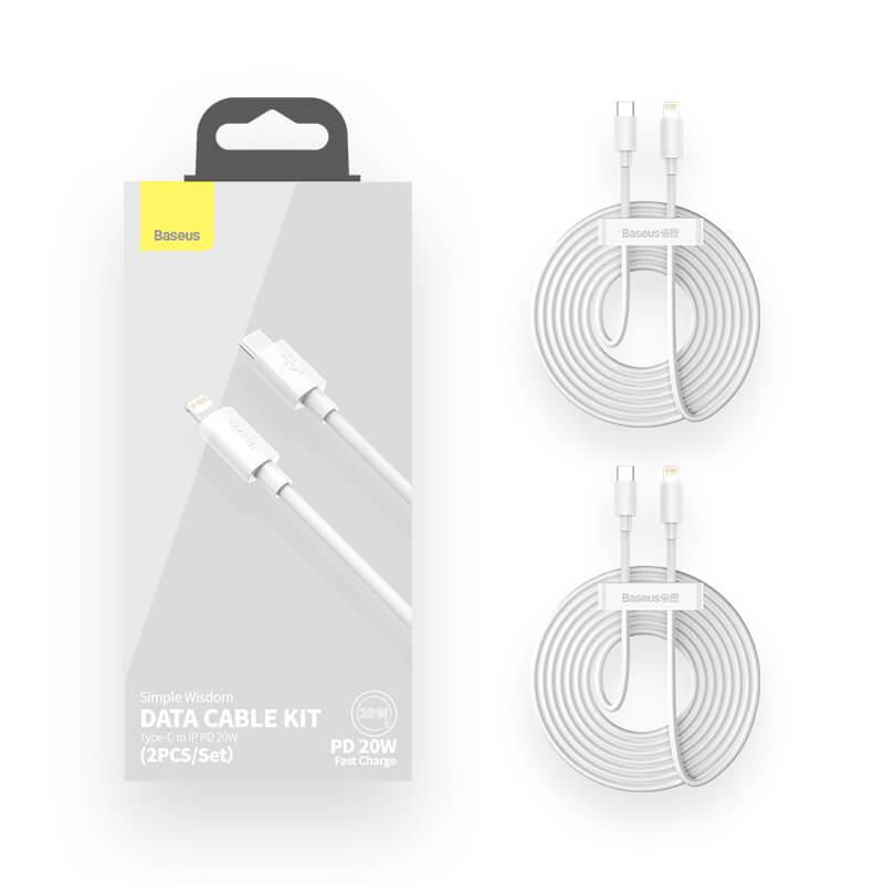 Baseus USB-C/Lightning adat/töltőkábel PD 20W 1,5m Simple Wisdom (2db/cs.) - Fehér