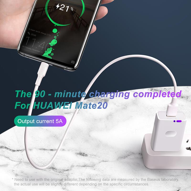 Double-Ring Huawei gyors töltő kábel USB-C 5A 1m Baseus - Fehér