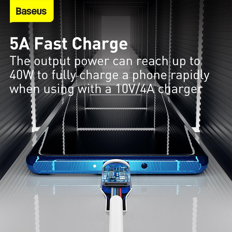 Baseus USB-C adat/töltőkábel PD 40W 5A 1,5m Simple Wisdom (2db/cs.) - Fehér