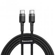 Cafule USB-C / USB-C PD2.0 60W 20V 3A QC3.0 nylon gyors töltő kábel 1m Baseus - Fekete