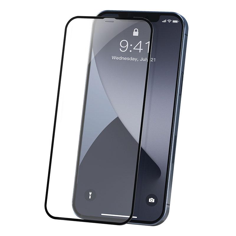 Baseus iPhone 12 Mini 0.23 mm, teljes felületre, lekerekített edzett üveg (2db/cs.) - Fekete