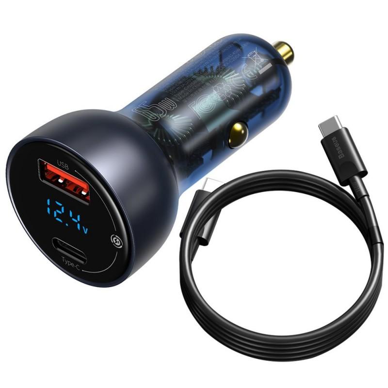 Baseus autós töltő USB/USB-C 65W 5A SCP QC 4.0, PD 3.0 LCD kijelző + Type-C kábel - Szürke