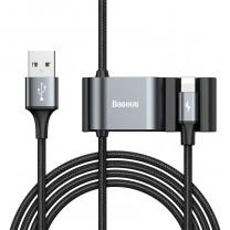 Speciális iPhone töltő kábel + 2USB csatlakozó 5V 3A - Fekete