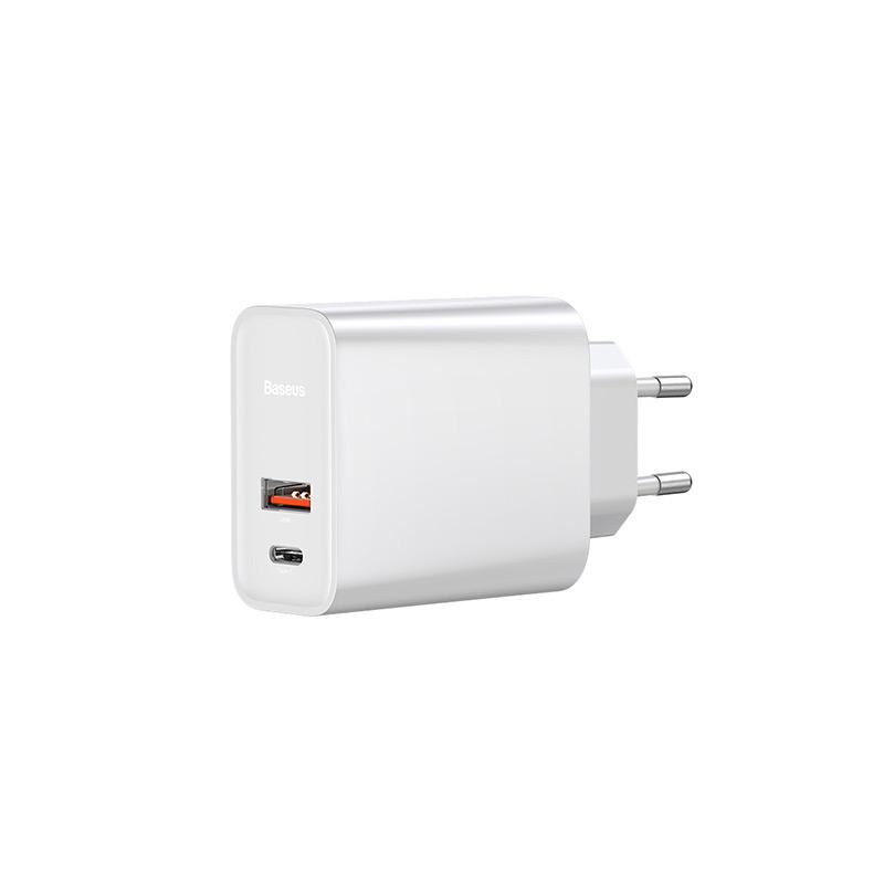 Speed PPS hálózati gyors töltő USB/USB-C QC3.0 30W Baseus - Fehér