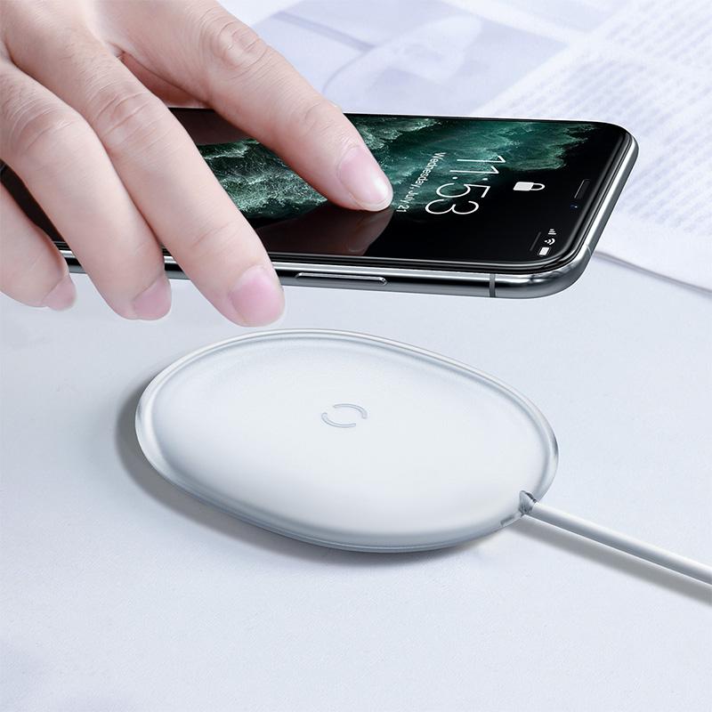 Baseus Jelly Qi vezeték nélküli töltő 15W USB-C kábellel - Fehér