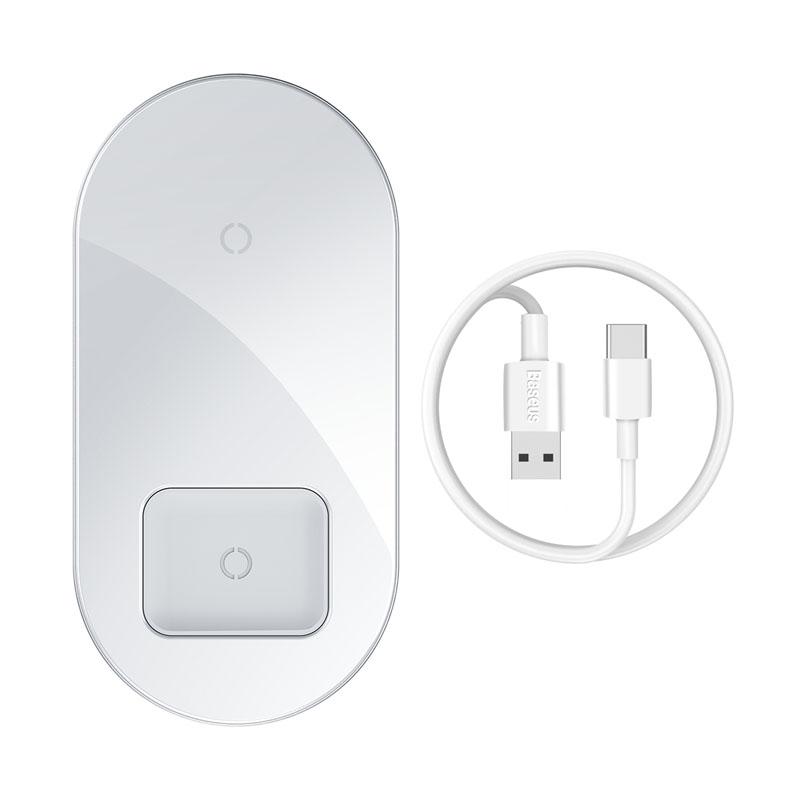 Baseus Simple Pro 2in1 Qi vezeték nélküli töltő 15W - Telefon - AirPods Pro  - Fehér