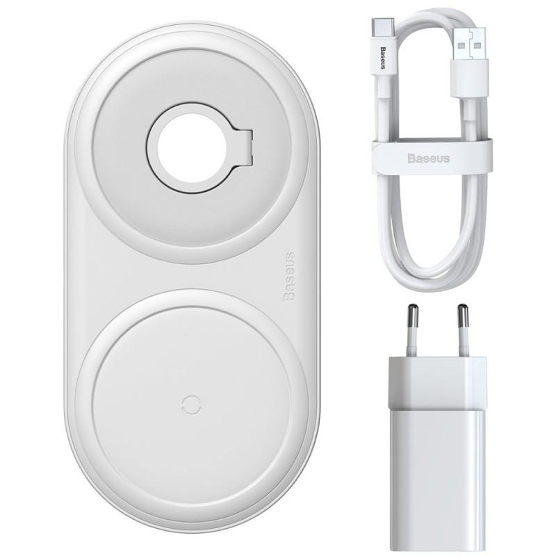 Baseus Planet vezeték nélküli gyorstöltő (okotelefon/AirPod/Apple Watch + fali töltő) - Fehér