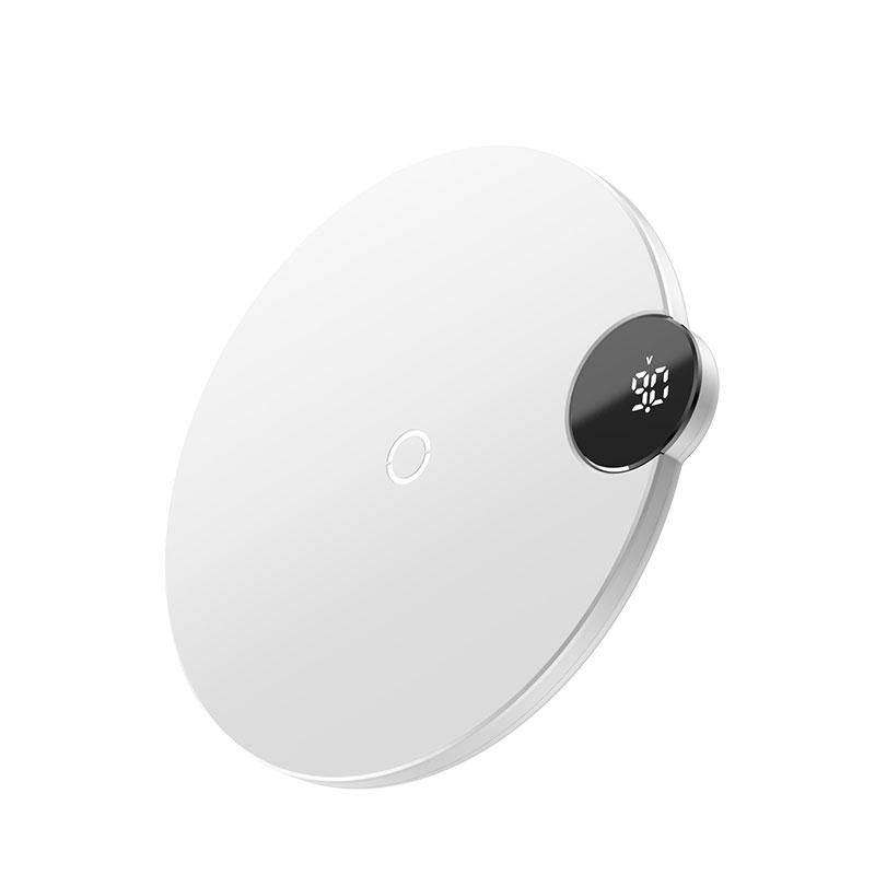 Digitális Led kijelzős vezeték nélküli wireless gyorstöltő Baseus - Fehér