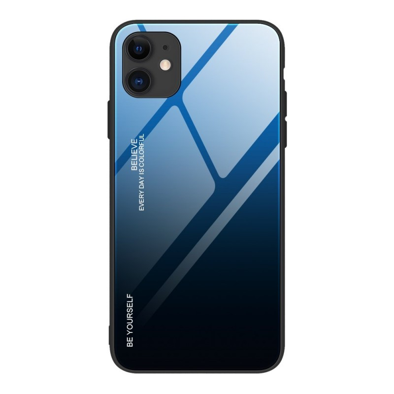 iPhone 12 Mini Gradient 9H üveghátlapú tok szilikon kerettel - Fekete/Kék