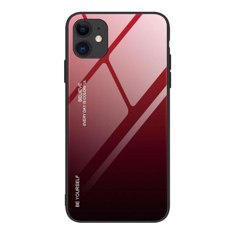 iPhone 12 Mini Gradient 9H üveghátlapú tok szilikon kerettel - Fekete/Piros