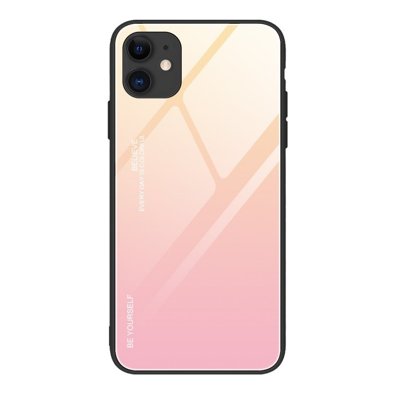 iPhone 12 Pro Max Gradient 9H üveghátlapú tok szilikon kerettel - Pink