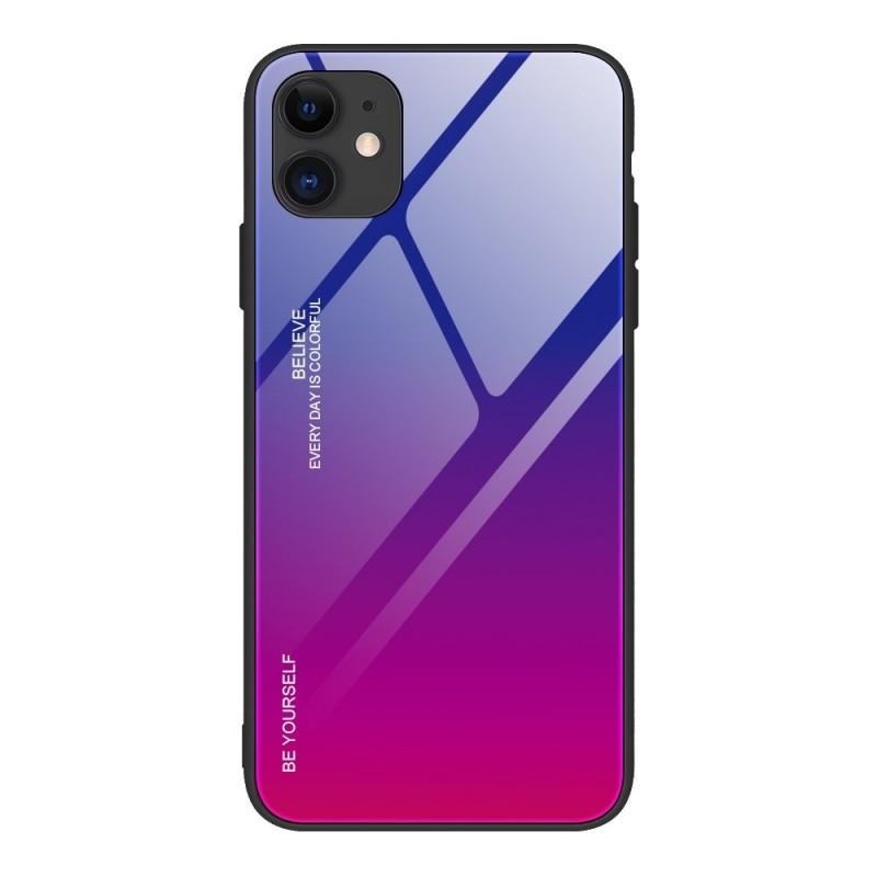 iPhone 12 Pro Max Gradient 9H üveghátlapú tok szilikon kerettel - Pink/ Lila