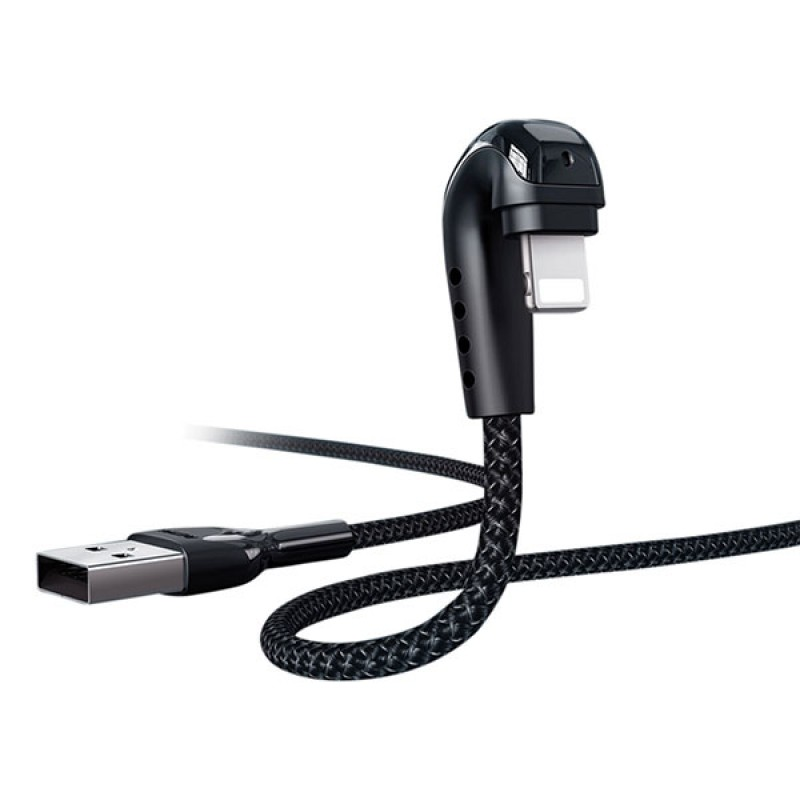 Heymanba iPhone Lightning gamer töltőkábel 3A 1m Remax - Fekete