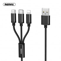 Remax Gition 3 in 1 Micro/iPhone/USB-C töltőkábel 1,2m 2.8A RC-131th - Fekete