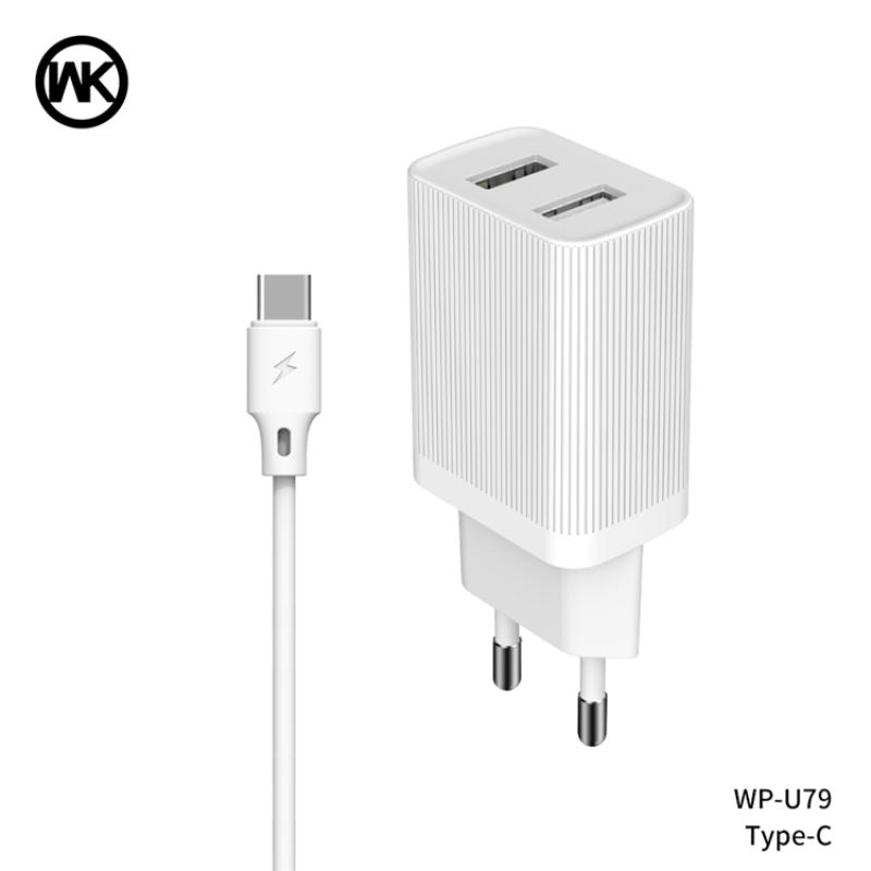 2USB hálózati töltő 2.1A + Type-C (USB-C) kábellel WP-U79a WK - Fehér