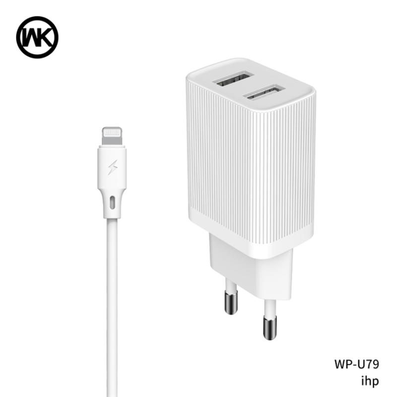 2USB hálózati töltő 2.1A + Lightning kábellel WP-U79i WK - Fehér