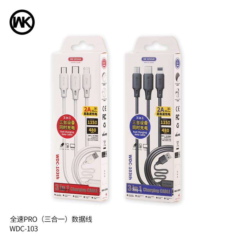 3 in 1 Micro-iPhone-USB-C töltőkábel WK - Fehér